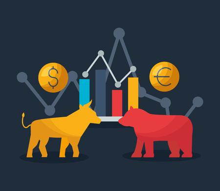Bull Bear graphique argent euro dollar marché boursier financier vector illustration Vecteurs