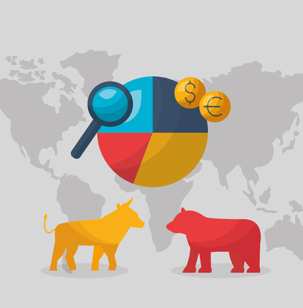 Bull bear world chart argent marché boursier illustration vectorielle