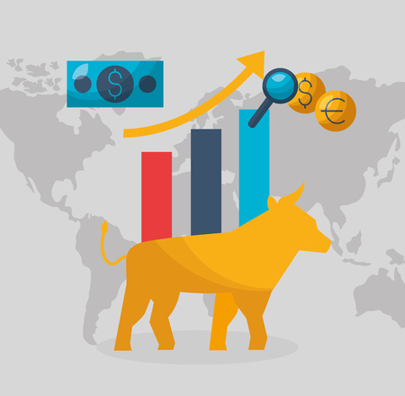 bull chart growth money financial stock market vector illustration