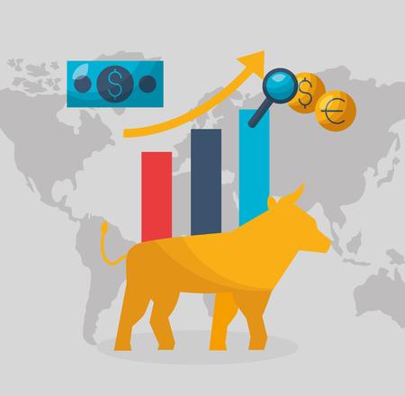 bull chart growth money financial stock market vector illustration