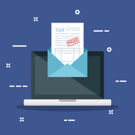 laptop with invoice report document inside card vector illustration