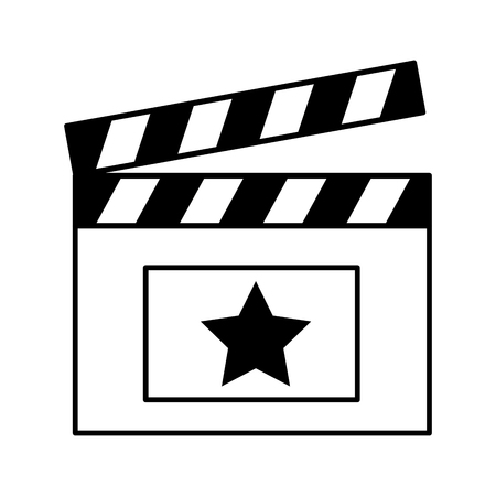 clapboard cinema movie outline on white background vector illustration  イラスト・ベクター素材