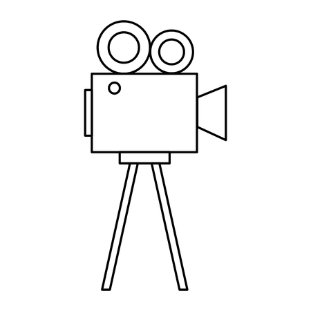 projector cinema movie outline on white background vector illustration