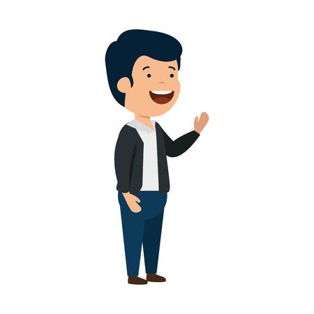 heureux, jeune homme, caractère, vecteur, illustration, conception