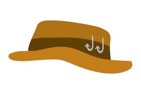 fishing hat with hooks on white background