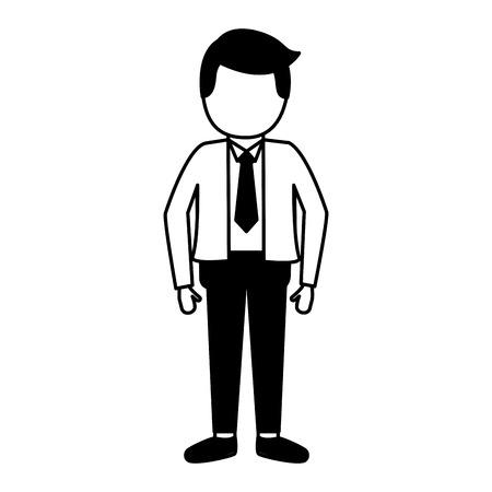 businessman with necktie on white background Illustration