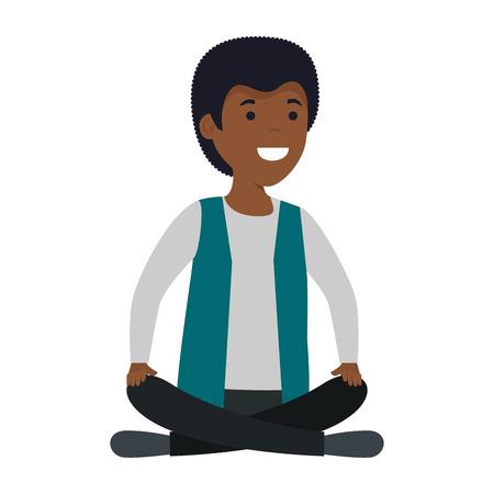 Jeune homme noir avec la conception d'illustration vectorielle position lotus Vecteurs