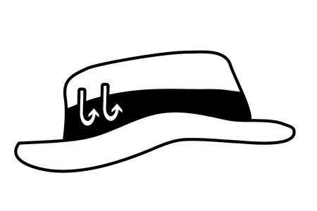 chapeau de pêche avec des crochets sur fond blanc