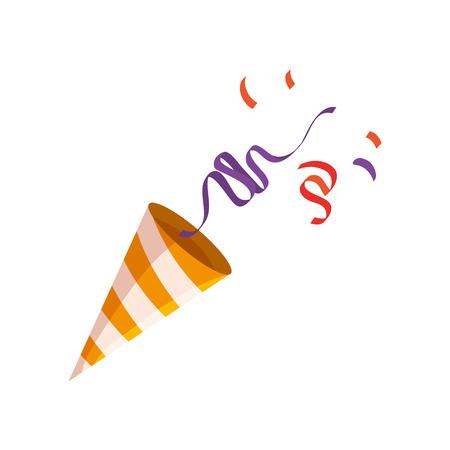 Cornet de fiesta con confeti, diseño de ilustraciones vectoriales