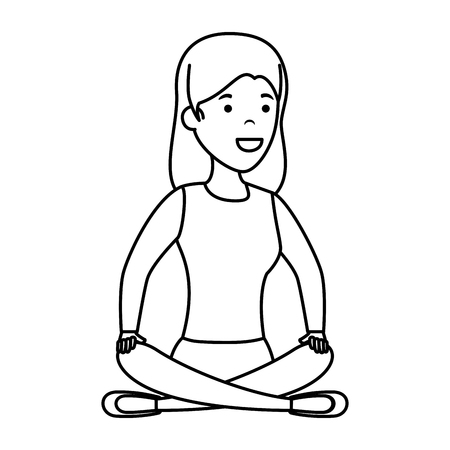 young woman in lotus position with store building vector illustration design