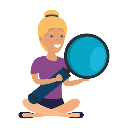 young woman in lotus position with magnifying glass vector illustration design Illustration