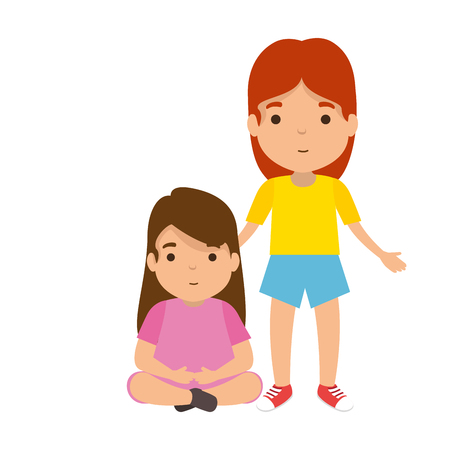 mother with daughter characters vector illustration design