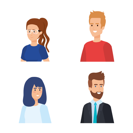 set beauty women and attractive men with hairstyle vector illustration