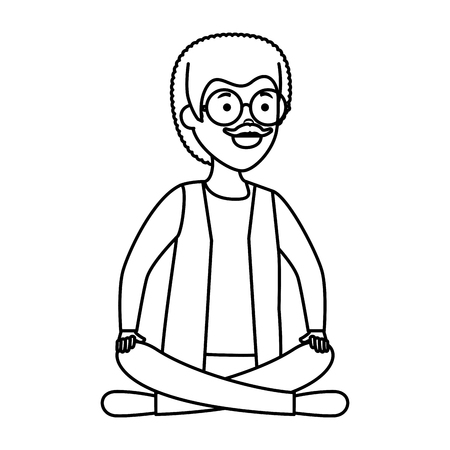 old man with lotus position vector illustration design