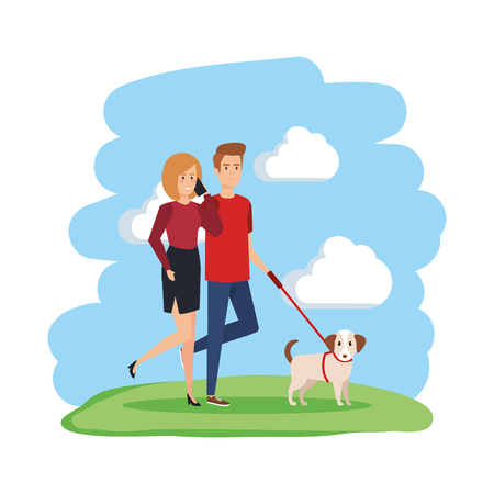 young couple with smartphone and dog characters vector illustration design