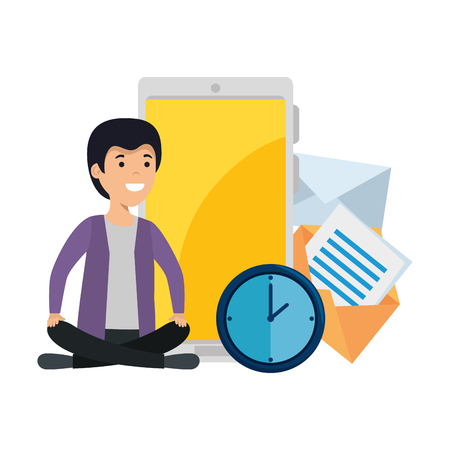 young man in lotus position with smartphone vector illustration design