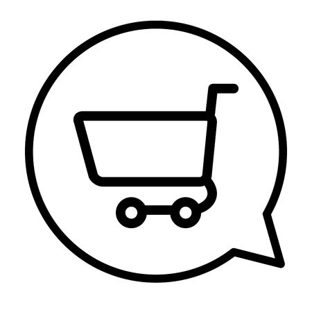 speech bubble with shopping cart commercial vector illustration design