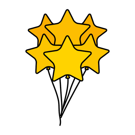 balloons helium floating with stars shape vector illustration design