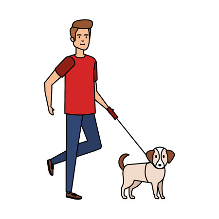 young man walking with dog vector illustration design