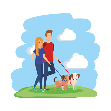 young couple with dog avatars characters vector illustration design