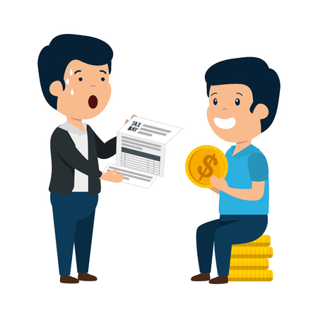 depressed men for money with tax document and coins vector illustration design