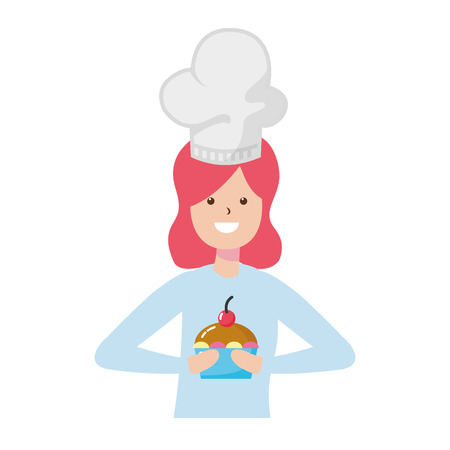woman cooking a cupcake dessert - my hobby vector illustration