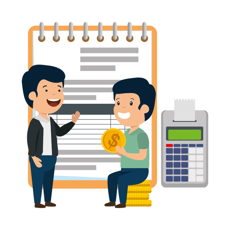depressed men for money with notepad and calculator vector illustration design
