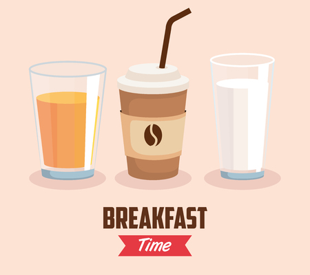 set orange juice with coffee cup and milk glass vector illustration