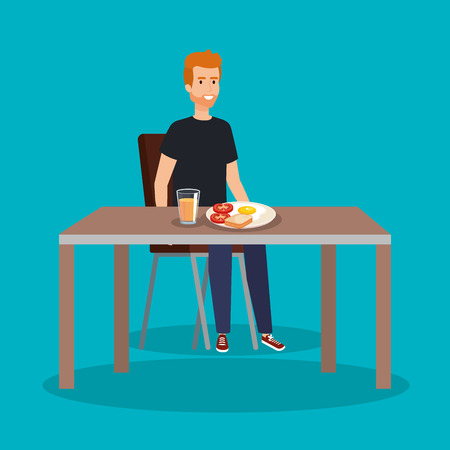 casual man eating delicious fried egg vector illustration Stock Illustratie