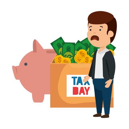 depressed man for money with box and piggy savings vector illustration design