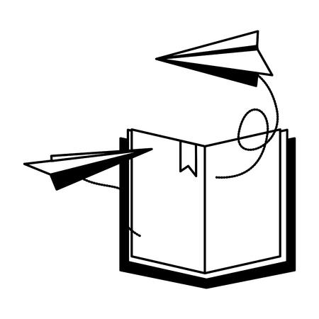 open book paper plane imagination vector illustration