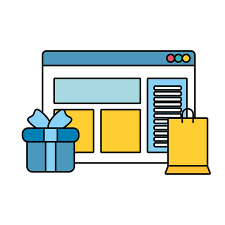 webpage template with gift and shopping bag vector illustration design