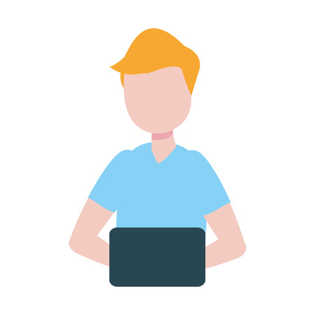 man with laptop computer avatar character vector illustration desing