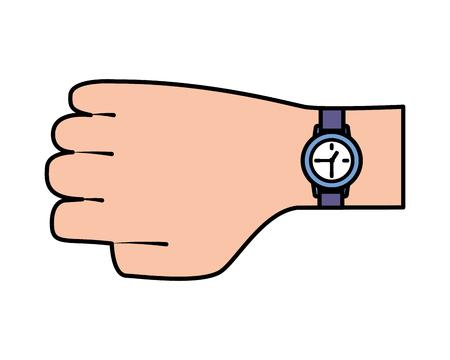 hand with wristwatch time on white background vector illustration Illusztráció