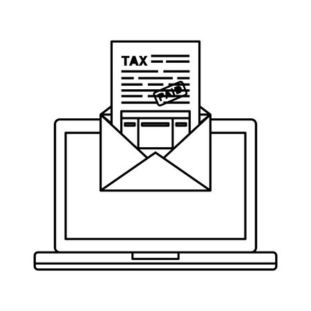 laptop computer with tax documents in envelope vector illustration design