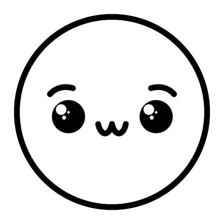 kawaii emoji face on white background vector illustration