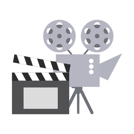 cinema projector and clapperboard isolated icon vector illustration design Foto de archivo - 124367490