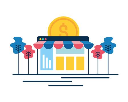 online shopping money coin commerce vector illustration Archivio Fotografico - 118960824
