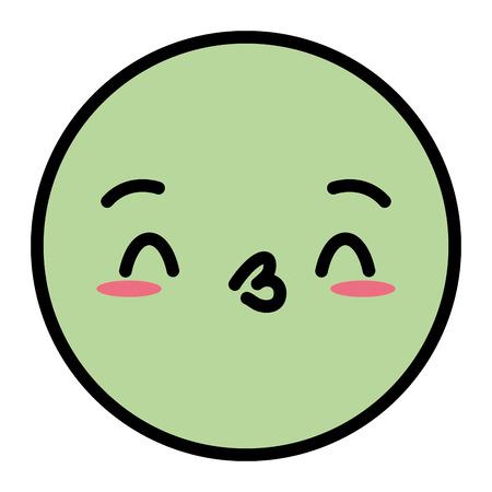 kawaii emoji cartoon face expression vector illustration Illustration