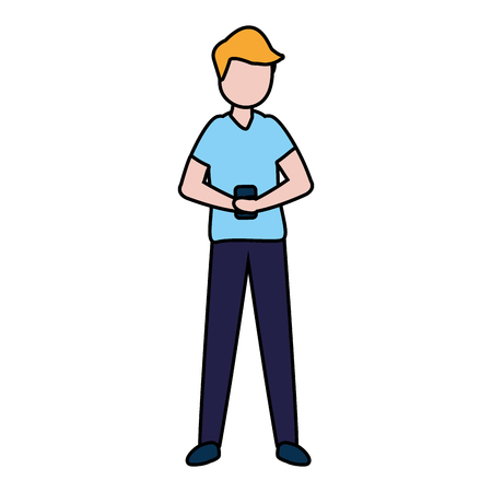 man with smartphone avatar character vector illustration desing