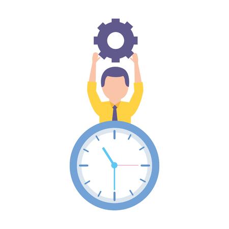 businessman holding gear clock time work vector illustration Archivio Fotografico - 124367592