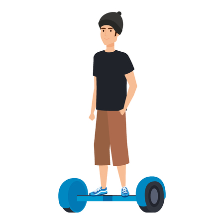 young man in hoverboard electric vector illustration design