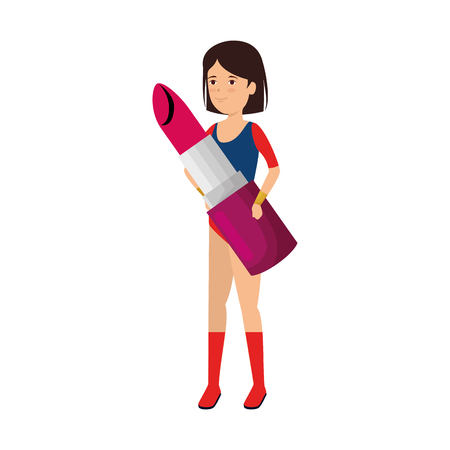 woman lifting lipstick makeup vector illustration design Vectores
