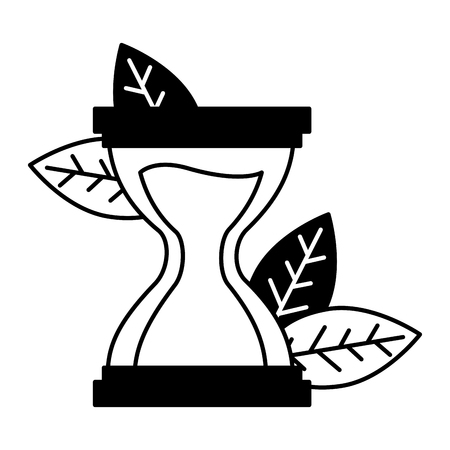 hourglass time clock leaves white background vector illustration Banque d'images - 124367662
