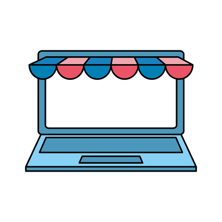 laptop computer with ecommerce tent vector illustration design