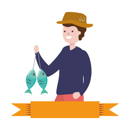 man with fishing holding fishes hobby vector illustration 写真素材 - 124371237