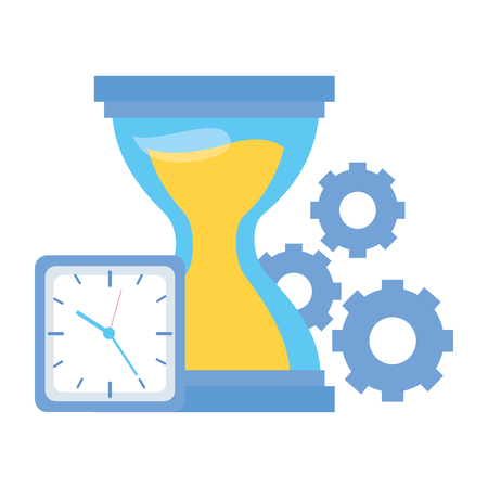 hourglass clock gears time work vector illustration Banque d'images - 124371245