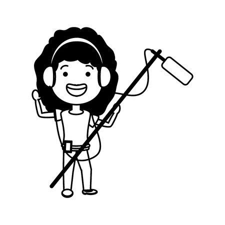 woman with movie objects avatar character vector illustration design Illustration
