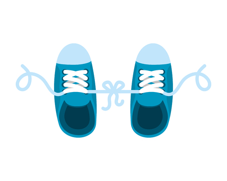 joke with shoes tied vector illustration design 向量圖像