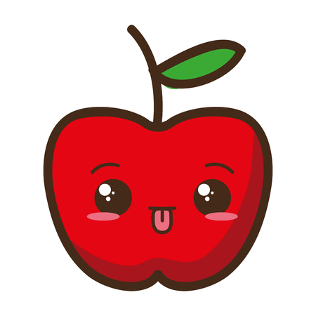 cartoon apple character white background vector illustration